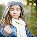 Adorable little girl hiking in forest Royalty Free Stock Photos