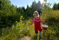 Adorable little girl hiking in the forest on summer day. Stock Images
