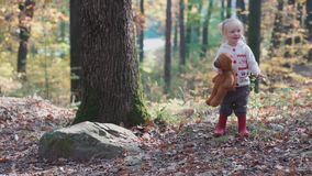 Adorable little girl hiking in the forest on summer day. Happy child girl in forest. Little kid playing in the autumn on stock video