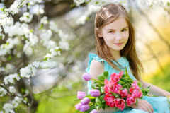 Adorable little girl holding tulips for her mother in cherry garden Stock Photos