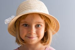 Adorable little girl with huge green eyes stock photos