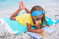 Adorable little girl with map find the way on Royalty Free Stock Image