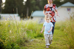 Adorable little girl in a meadow Royalty Free Stock Photography
