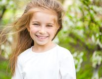 Adorable little girl on the meadow Royalty Free Stock Photos
