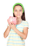 Adorable little girl with money-box Royalty Free Stock Photography