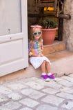 Adorable little girl outdoors in European city Stock Photography