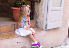 Adorable little girl outdoors in European city Stock Photography