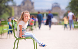 Adorable little girl outdoors in the Tuileries Gardens, Paris, France Royalty Free Stock Photography