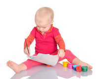 Adorable little girl painting on white background Royalty Free Stock Images
