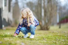 Adorable little girl picking the first flowers of spring on beautiful spring day. Cute child having fun outdoors Stock Images