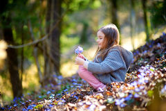 Adorable little girl picking the first flowers of spring in the woods. On beautiful sunny spring day Stock Photo