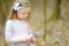 Adorable little girl picking the first flowers of spring in the woods on beautiful sunny spring day royalty free stock photography