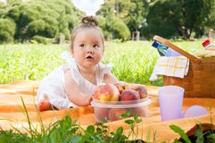 Adorable little girl on picnic in the beauty park Stock Images