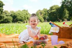 Adorable little girl on picnic in the beauty park Royalty Free Stock Image