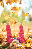 Adorable little girl in a pink jacket Royalty Free Stock Photo