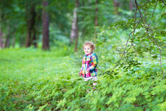 Adorable little girl playing in an autumn park Royalty Free Stock Photos