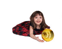 Adorable little girl playing with christmas bulb Royalty Free Stock Photography