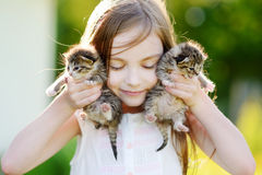 Adorable little girl playing with small kittens Royalty Free Stock Photography