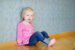 Adorable little girl portrait at home Stock Images