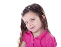 Adorable little girl portrait isolated on white Stock Photography