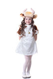 Adorable little girl posing in cow costume Stock Photography