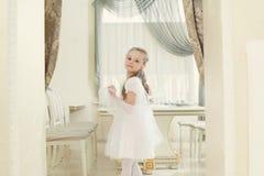Adorable little girl posing in restaurant Royalty Free Stock Photo