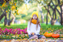 Adorable little girl with pumpkin at beautiful Stock Image