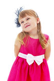 Adorable little girl in a red dress , close-up Royalty Free Stock Image