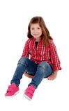Adorable little girl with red plaid shirt Royalty Free Stock Photos