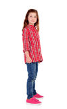 Adorable little girl with red plaid shirt Stock Photos