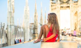 Adorable little girl on the rooftop of Duomo Royalty Free Stock Photo