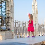 Adorable little girl on the rooftop of Duomo Royalty Free Stock Image