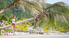 Adorable little girl sitting on palm tree during summer vacation on white beach. Adorable little girl at tropical beach sitting on palm tree during summer stock video
