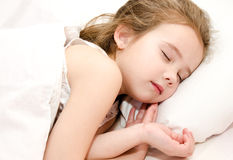 Adorable little girl sleeping in bed Royalty Free Stock Images