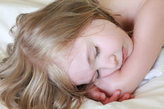 Adorable little girl sleeps. Royalty Free Stock Photos