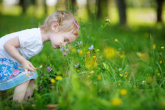 Adorable little girl sniffing flowers outdoors Royalty Free Stock Photos