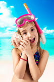 Adorable little girl with snorkeling equipment Royalty Free Stock Image