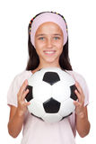 Adorable little girl with soccer ball Royalty Free Stock Photos