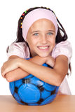 Adorable little girl with soccer ball Stock Photography