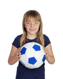 Adorable little girl with soccer ball Stock Photos