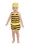 Adorable little girl in a striped bee costume Stock Photo