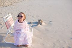 Adorable little girl in sunglasses covered with Royalty Free Stock Images