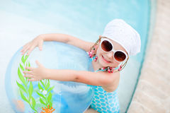 Adorable little girl at swimming pool Royalty Free Stock Photography