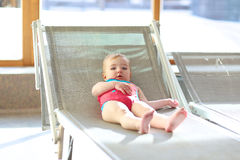 Adorable little girl in swimming pool Royalty Free Stock Photos