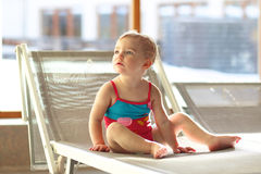 Adorable little girl in swimming pool Royalty Free Stock Image