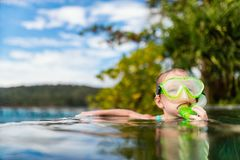 Little girl in swimming pool. Adorable little girl at swimming pool having fun during summer vacation Royalty Free Stock Photography