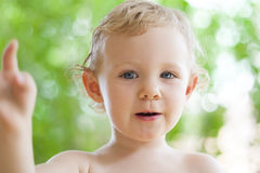 Adorable little girl taken closeup outdoors Stock Photography