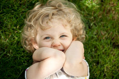 Adorable little girl taken closeup outdoors Royalty Free Stock Image
