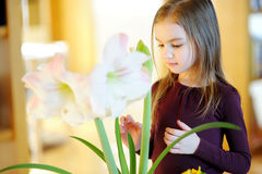 Adorable little girl taking care of plants and flowers Stock Photo