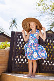 Adorable little girl at tropical  beach Stock Images